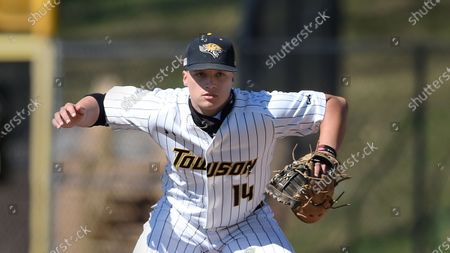 Towson first baseman Nick Brown during an NCAA baseball game, in Towson, Md