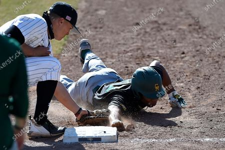 George Mason's Jordan Smith, right, is picked off as Towson first baseman Nick Brown makes the tag during an NCAA baseball game, in Towson, Md
