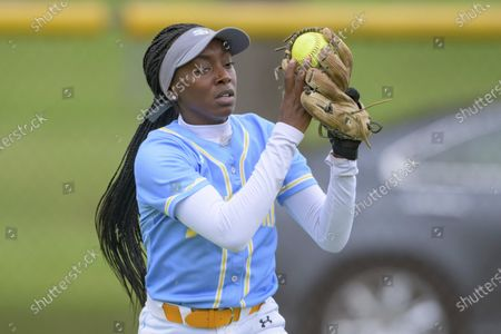 Stock Picture of Southern outfielder Aubrion Alexis James (8) makes an out during an NCAA softball game against Alabama State, in Baton Rouge, La