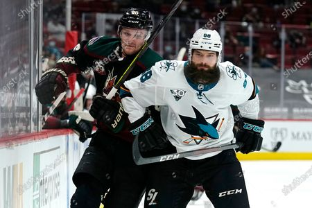 San Jose Sharks defenseman Brent Burns (88) in the first period during an NHL hockey game against the Arizona Coyotes, in Glendale, Ariz