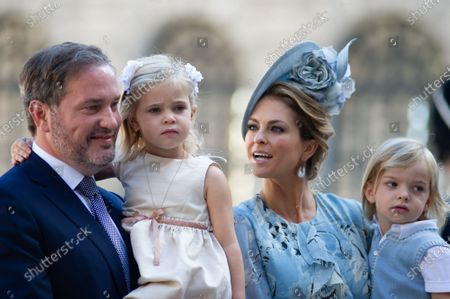 Stock Picture of Mr Chris O'Neill, Princess Madeleine with their children Leonore and Nicolas attends.