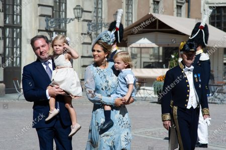 Stock Photo of Mr Chris O'Neill, Princess Madeleine with their children Leonore and Nicolas attends.