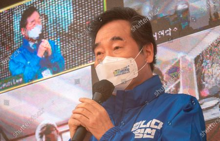 Stock Picture of Lee Nak-Yon : Rep. Lee Nak-Yon, a former Democratic Party (DP) chief who is currently co-chairing the party's election committee for the upcoming April 7 by-elections, speaks during a campaign of the ruling DP's Seoul mayoral candidate Park Young-Sun in Seoul, South Korea. The mayoral by-election in Seoul will be held on April 7, 2021.