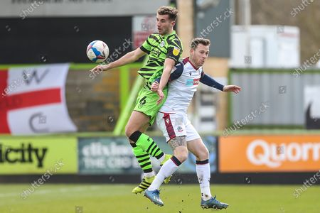 Forest Green Rovers Baily Cargill(6) and Bolton Wanderers Gethin Jones (2) during the EFL Sky Bet League 2 match between Forest Green Rovers and Bolton Wanderers at the New Lawn, Forest Green