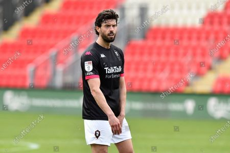 Jason Lowe (4) of Salford City during the EFL Sky Bet League 2 match between Exeter City and Salford City at St James' Park, Exeter