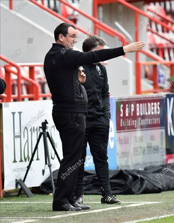 Salford City manager Gary Bowyer gestures during the EFL Sky Bet League 2 match between Exeter City and Salford City at St James' Park, Exeter