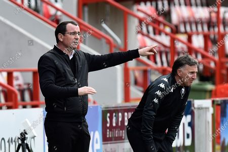 Salford City manager Gary Bowyer points during the EFL Sky Bet League 2 match between Exeter City and Salford City at St James' Park, Exeter