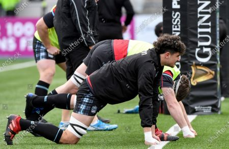 Glasgow Warriors vs Benetton Rugby. Glasgow's James Scott during the warm-up
