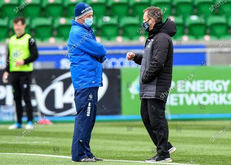 Glasgow Warriors vs Benetton Rugby. Benetton Head Coach Kieran Crowley with Glasgow Head Coach Danny Wilson
