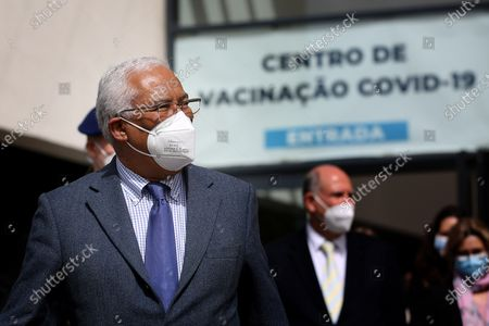 Portuguese Prime Minister Antonio Costa is seen on the first day of the teaching and non-teaching staff inoculation against COVID-19 at the Odivelas Multipurpose Pavilion in Lisbon, Portugal, on March 27, 2021. Portugal started massive inoculation against COVID-19 for all teaching and non-teaching staff on Saturday, with around 280,000 people scheduled to be immunized over the next weeks, while the government plans to slowly ease restrictions on coronavirus and reopen all teaching levels.