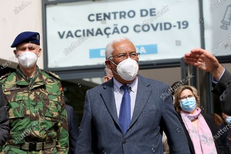 Stock Picture of Portuguese Prime Minister Antonio Costa is seen on the first day of the teaching and non-teaching staff inoculation against COVID-19 at the Odivelas Multipurpose Pavilion in Lisbon, Portugal, on March 27, 2021. Portugal started massive inoculation against COVID-19 for all teaching and non-teaching staff on Saturday, with around 280,000 people scheduled to be immunized over the next weeks, while the government plans to slowly ease restrictions on coronavirus and reopen all teaching levels.