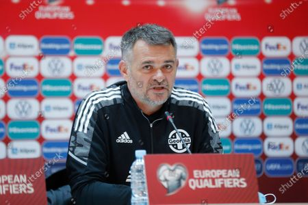 Willy Sagnol, head coach of Georgia's national soccer team, attends a press conference at the Boris Paichadze Dinamo Arena national stadium in Tbilisi, Georgia, 27 March 2021. Georgia will face Spain in their FIFA World Cup 2022 Qualifying round - Group B soccer match on 28 March 2021.