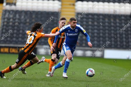 Stuart O'Keefe George Honeyman, Keane Lewis-Potter  during the EFL Sky Bet League 1 match between Hull City and Gillingham at the KCOM Stadium, Kingston upon Hull