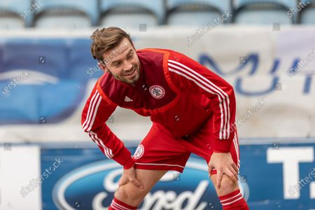 Stock Photo of Accrington Stanley defender Mark Hughes (3) warms up before during the EFL Sky Bet League 1 match between Peterborough United and Accrington Stanley at London Road, Peterborough