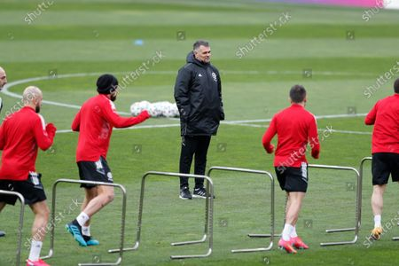 Georgia's head coach Willy Sagnol (C) during a training session at the Boris Paichadze Dinamo Arena national stadium in Tbilisi, Georgia, 27 March 2021.. Georgia will face Spain in their FIFA World Cup 2022 Qualifying round - Group B soccer match on 28 March 2021.