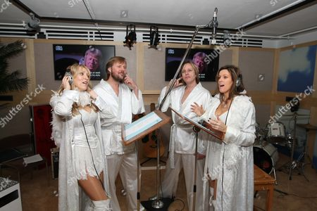 Members of Abba tribute band Fabbagirls - Zoe Nicholas, Rob Arnall, Adrian Muckley and Susie Webb