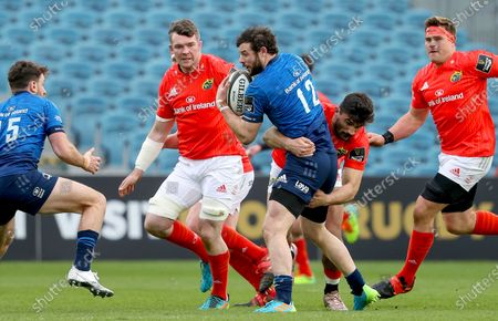 Leinster vs Munster. Leinster's Robbie Henshaw is tackled by Damian De Allende of Munster