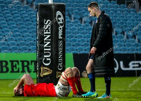 Leinster vs Munster. Munster's Tadhg Beirne dejected after the game with Johnny Sexton of Leinster