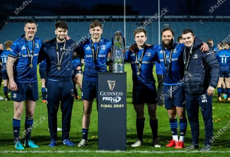 Leinster vs Munster. Leinster Half-backs Johnny Sexton, Harry Byrne, Ross Byrne, Luke McGrath, Jamison Gibson-Park and Hugh O'Sullivan celebrate with the Guinness PRO14 after the game