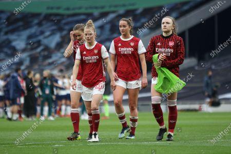Substitutes, Malin Gut (#21 Arsenal), Leonie Maier (#20 Arsenal), Anna Patten (#4 Arsenal) and 16 year old Teyah Goldie (#29 Arsenal)