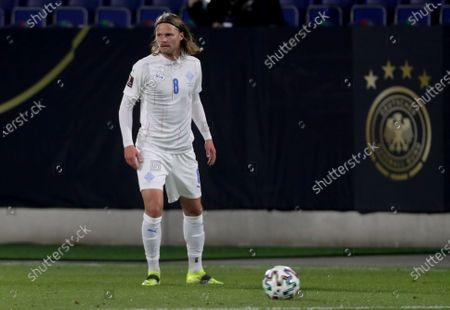 Stock Picture of Iceland's Birkir Bjarnason plays the ball during the World Cup 2022 group J qualifying soccer match between Germany and Iceland in Duisburg, Germany