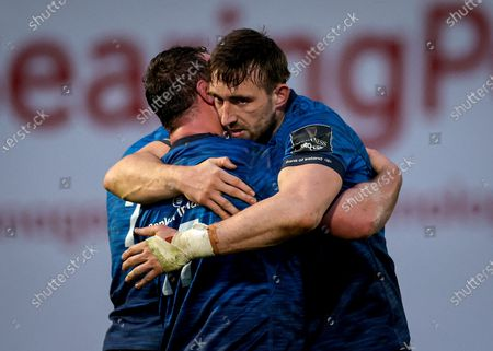 Leinster vs Munster. Leinster's Ed Byrne celebrates with Jack Conan after the game