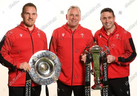 Stock Picture of Gethin Jenkins, Wayne Pivac and Stephen Jones with the trophy and Triple Crown.