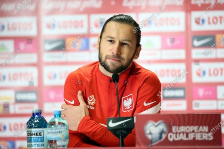 Poland's national soccer player Grzegorz Krychowiak speaks at a press conference before a training session at the Legia Warsaw Municipal Stadium in Warsaw, Poland, 27 March 2021. Poland will play against Andora in a Group I of FIFA World Cup Qatar 2022 qualifier on 28 March.