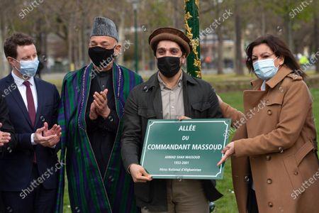 Ahmad Massoud, son of late Afghan commander Ahmad shah Massoud, former Afghan President Hamid Karzai, Paris Mayor Anne Hidalgo