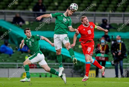 Republic of Ireland vs Luxembourg. Ireland's Shane Long and Laurent Jans of Luxembourg