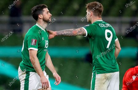 Republic of Ireland vs Luxembourg. Ireland's Shane Long with James Collins