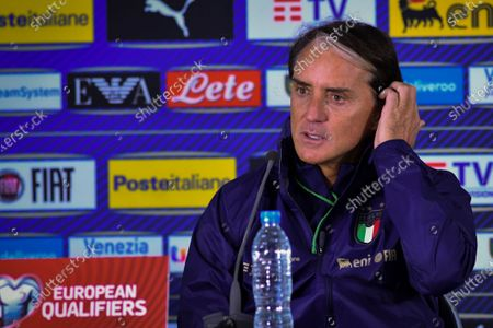 Italy national soccer team head coach Roberto Mancini  attend a press conference in Sofia, Bulgaria, 27 March 2021. Italy will face Bulgaria in their FIFA World Cup 2022  qualification group C soccer match on 28 March 2021