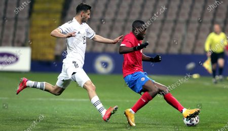 Branimir Cipetic (L) of Bosnia, and Joel Campbell (R) of Costa Rica in action during a friendly soccer match between Bosnia and Herzegovina vs Costa Rica in Zenica, Bosnia and Herzegovina, 27 March 2021.