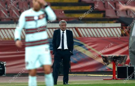 Portugal's head coach Fernando Santos stands on the touchline during the World Cup 2022 group A qualifying soccer match between Serbia and Portugal at the Rajko Mitic stadium in Belgrade, Serbia