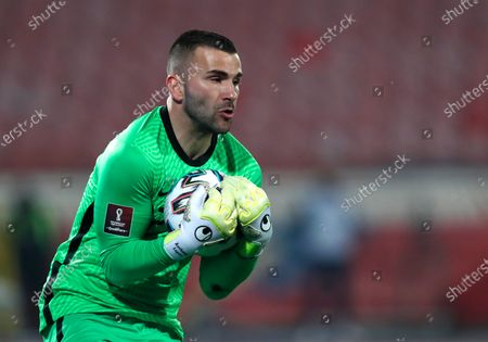 Portugal's goalkeeper Anthony Lopes in action during the World Cup 2022 group A qualifying soccer match between Serbia and Portugal at the Rajko Mitic stadium in Belgrade, Serbia