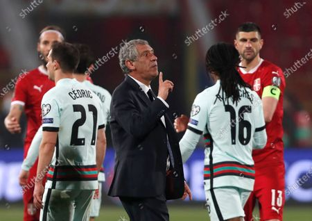 Portugal's head coach Fernando Santos reacts after the World Cup 2022 group A qualifying soccer match between Serbia and Portugal at the Rajko Mitic stadium in Belgrade, Serbia