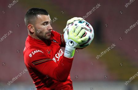 Portugal's Anthony Lopes warms up prior to the World Cup 2022 group A qualifying soccer match between Serbia and Portugal at the Rajko Mitic stadium in Belgrade, Serbia