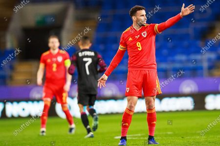 Stock Photo of Wales forward Hal Robson-Kanu (9) gestures during the international friendly match between Wales and Mexico at the Cardiff City Stadium, Cardiff
