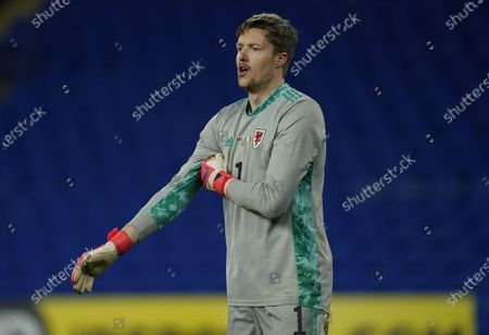 Goalkeeper Wayne Hennessey of Wales reacts during the international friendly match between Wales and Mexico in Cardiff, Britain, 27 March 2021.
