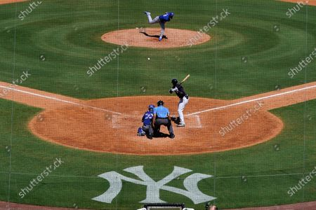 Stock Image of The New York Yankees face the Toronto Blue Jays in a spring training exhibition baseball game, with a limited number of fans, socially distanced in attendance, at George M. Steinbrenner Field in Tampa, Fla
