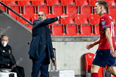 Belgium's head coach Roberto Martinez reacts during the match between the Czech Republic and the Belgian national team Red Devils, Saturday 27 March 2021 in Prague, the Czech Republic, qualification match 2 of 8 in Group E ahead of the World Cup 2022.