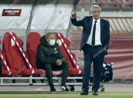 Portugal coach Fernando Santos reacts during the FIFA World Cup 2022 qualifying soccer match between Serbia and Portugal in Belgrade, Serbia, 27 March 2021.