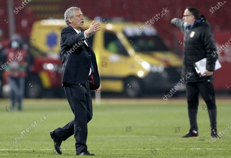 Portugal coach Fernando Santos reacts after the FIFA World Cup 2022 qualifying soccer match between Serbia and Portugal in Belgrade, Serbia, 27 March 2021.