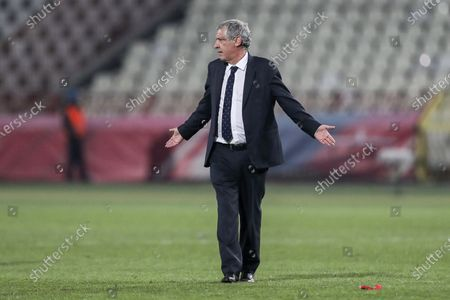 Portugal's head coach Fernando Santos reacts  after the Group A of FIFA World Cup Qatar 2022 qualifier match at Rajko Mitic Stadium in Belgrade, Serbia, 27th March 2021.