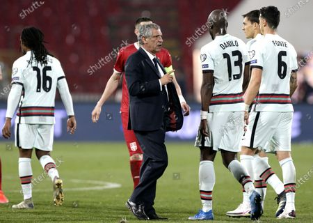 Portugal coach Fernando Santos (C) reacts after the FIFA World Cup 2022 qualifying soccer match between Serbia and Portugal in Belgrade, Serbia, 27 March 2021.