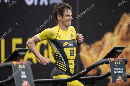 Jonny Brownlee of Great Britain competes during the Super League Triathlon Arena Games held at the London Aquatics Centre, Queen Elizabeth II Olympic Park in London, United Kingdom.