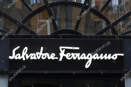 Salvatore Ferragamo logo seen over the entrance to a brand store in Kiev.