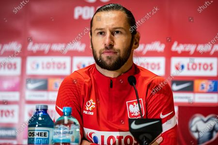 Grzegorz Krychowiak of Poland in action during the official training session one day before the FIFA World Cup Qatar 2022 qualification match between Poland and Andorra at Marshal Jozef Pilsudski Legia Warsaw Municipal Stadium.