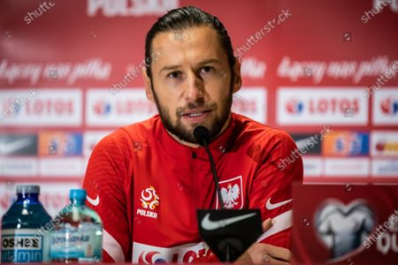 Grzegorz Krychowiak of Poland speaks during the official training session one day before the FIFA World Cup Qatar 2022 qualification match between Poland and Andorra at Marshal Jozef Pilsudski Legia Warsaw Municipal Stadium.