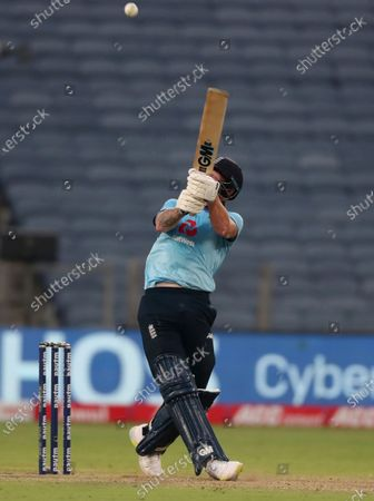 England's Ben Stokes bats during the third One Day International cricket match between India and England at Maharashtra Cricket Association Stadium in Pune, India